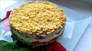 """Салат  """" Мимоза """"  / Вкусный слоеный салат с рыбными консервами"""