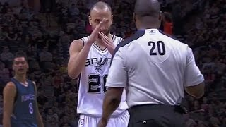 Manu Ginobili Gets Hit In the Face, Calls Technical Foul on Referee