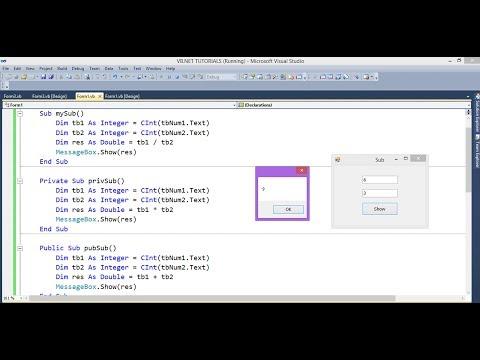 فيجوال بيسك - 16 : كيفية إنشاء - vb.net : ( Sub - Private Sub - Public Sub )