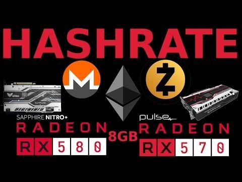 Hashrates: Sapphire Pulse RX570 & Nitro+ RX580 8GB AMD Radeon GPU Mining Performance ETH ZEC XMR