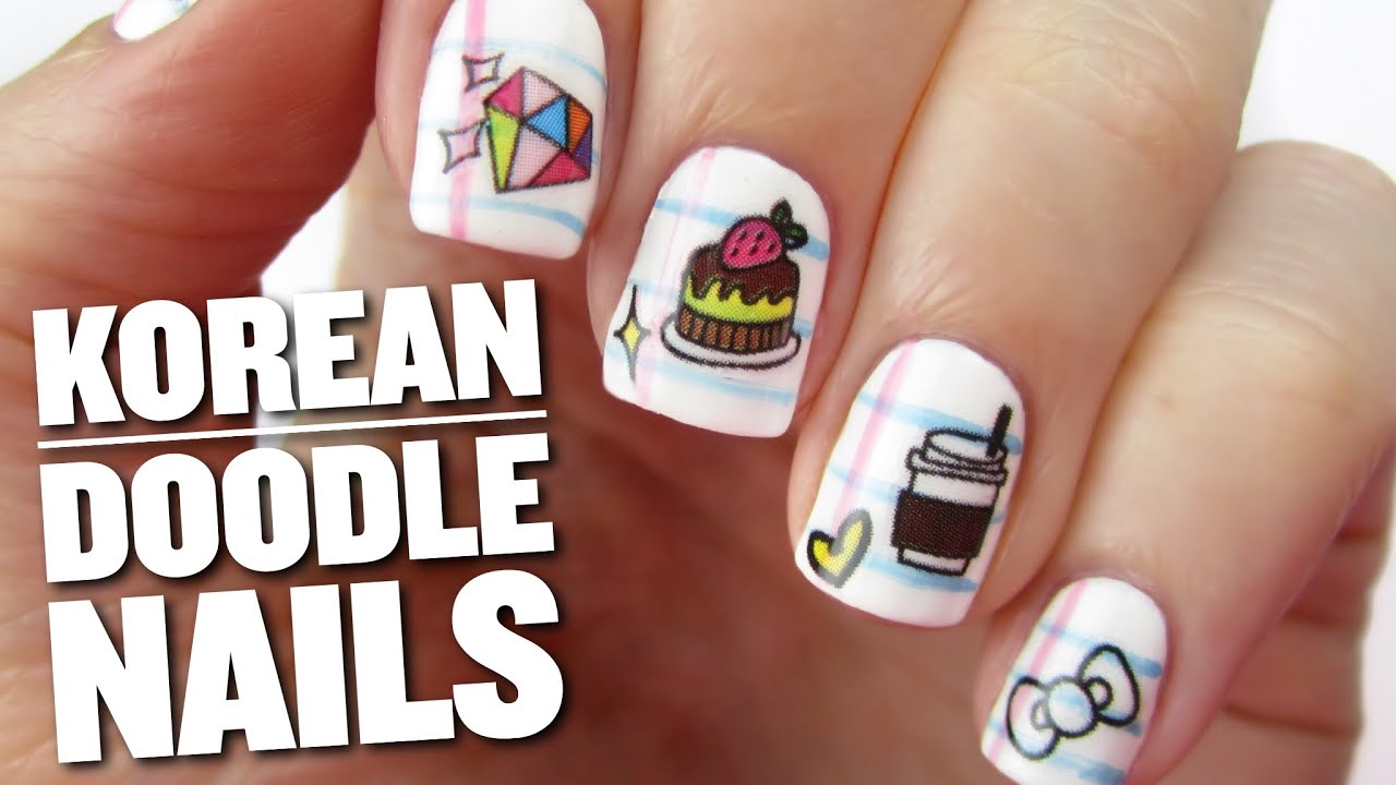 Korean Doodle Nail Art Youtube