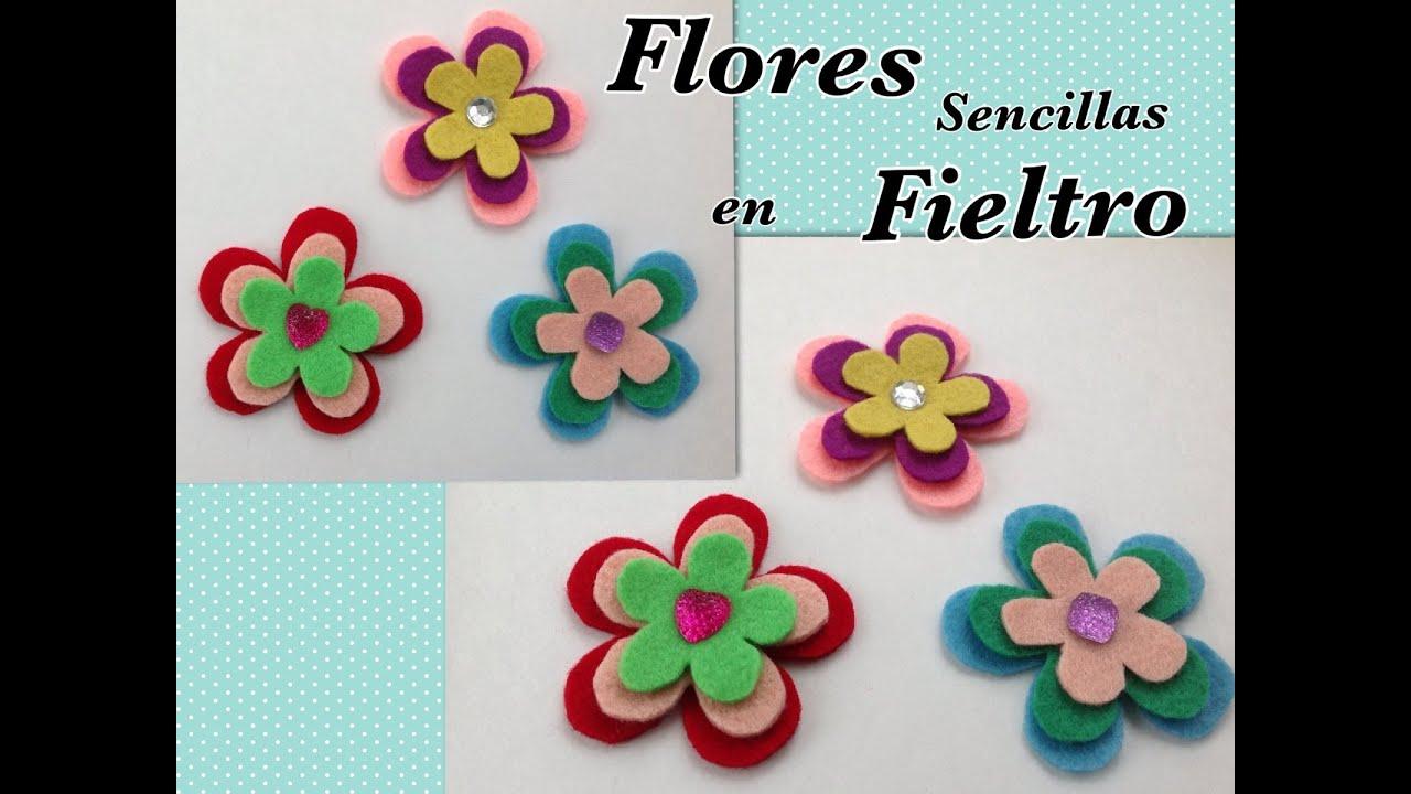 Flores sencillas de fieltro ideales para scrapbook felt - Plantillas para manualidades de fieltro navidad ...