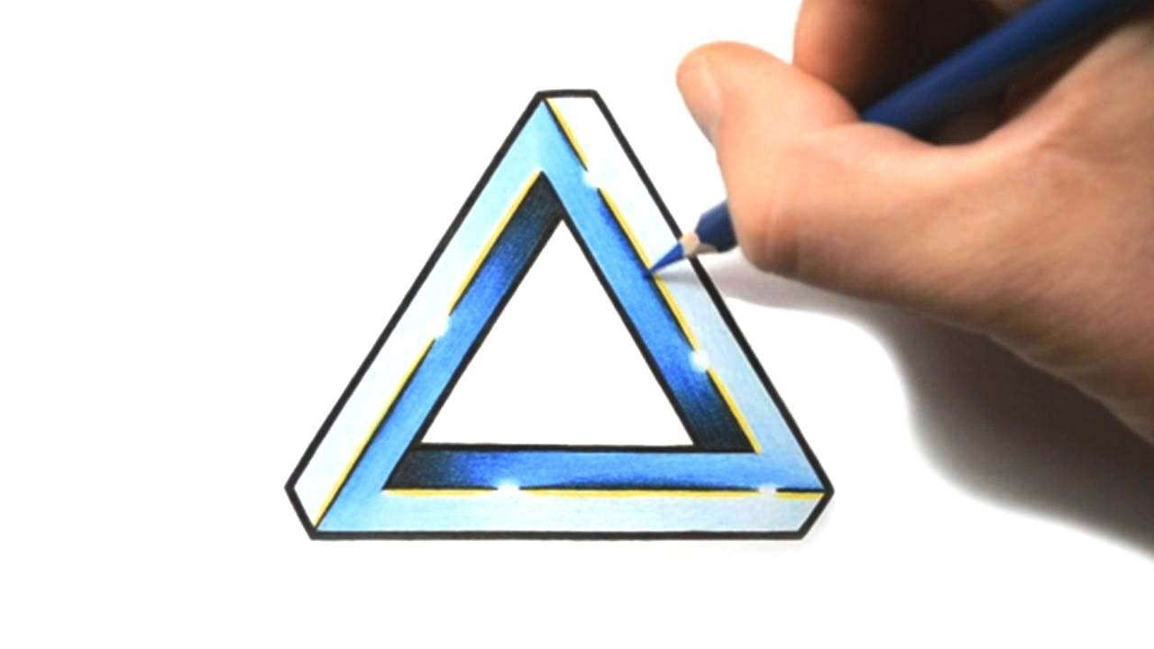 how to draw a penrose triangle tattoo design style youtube