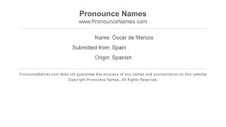 How to pronounce Óscar de Marcos (Spanish/Spain) - PronounceNames.com