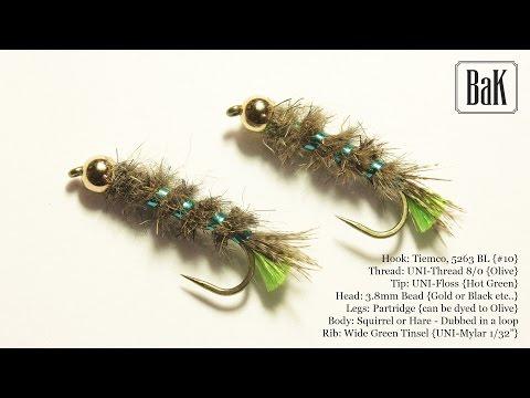 "Tying  ""Peeping Caddis"" - Cased Green (Nymphs) by BK"