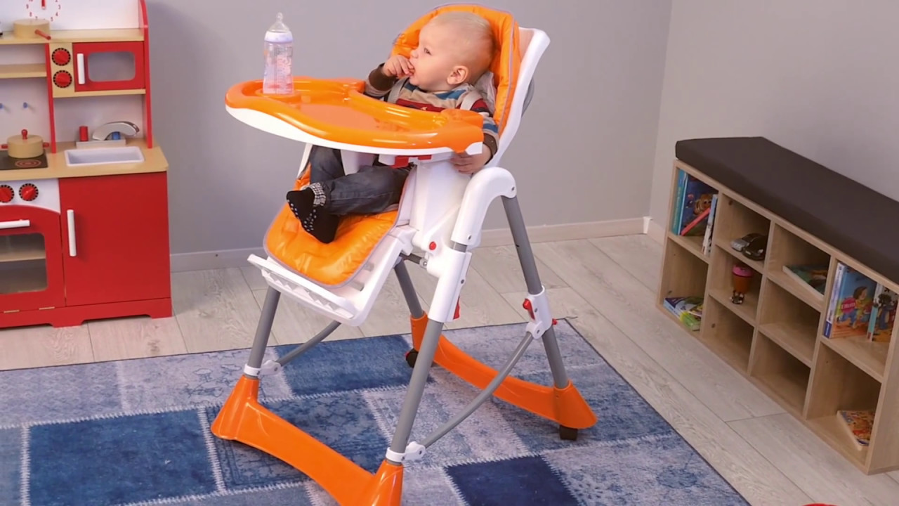 Chaise Haute Babygo Chaise Haute Pour Bébé Enfant Grand Confort Pliable Orange