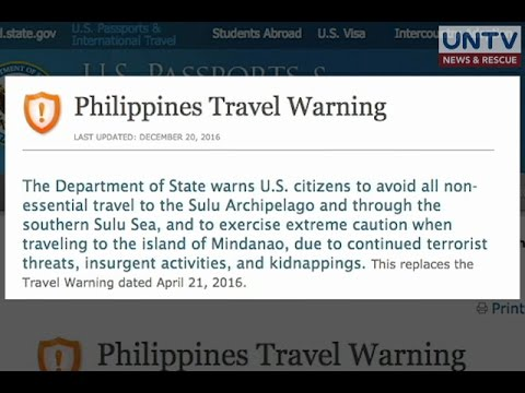 US issues travel warning against Mindanao