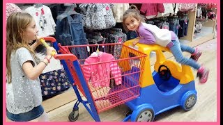 Emily Doing Shopping - Kids Size Car Shopping Cart- Nursery Rhymes