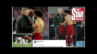 Liverpool fans worried after spotting Salah with strapping on shoulder
