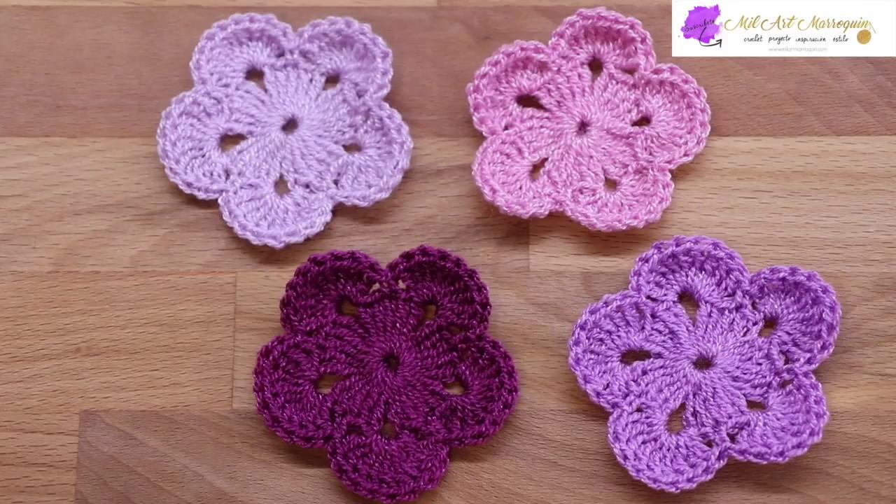 Flor 21 Crochet 5 Pétalos 2 Vueltas Youtube