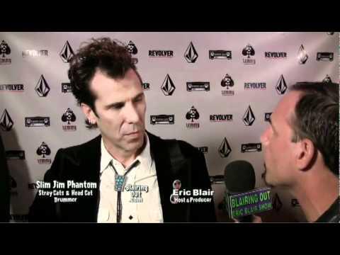 STRAY CATS Slim Jim Phantom talks w Eric Blair @ the premiere of LEMMY  the movie