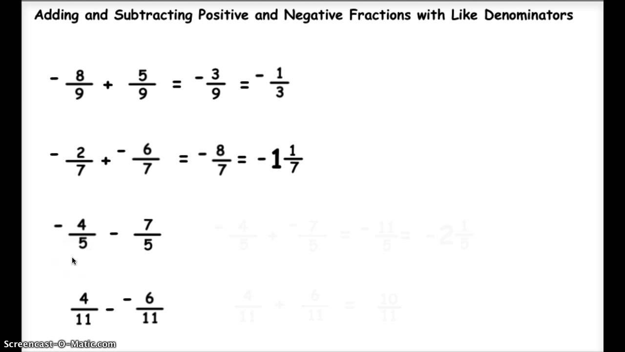 Adding And Subtracting Positive And Negative Fractions 1