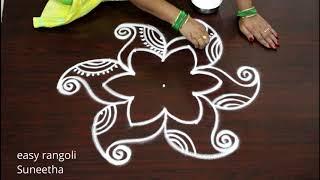 5 dots ముగ్గులు rangoli by Suneetha || Amazing rangoli & kolangal designs || रंगोली ||