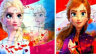 АННА и ЭЛЬЗА Холодное сердце 2 собираем пазлы для детей с героями мультика Холодное Сердце