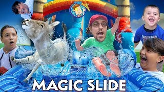 SLIDING on MAGIC SLIDES w/ Teleporting Mike (FV Family Vlog)
