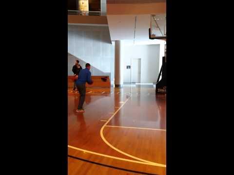Shooting shots at basketball hall of fame