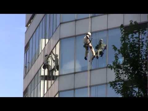 Window cleaners at work in Shinjuku Tokyo Japan!