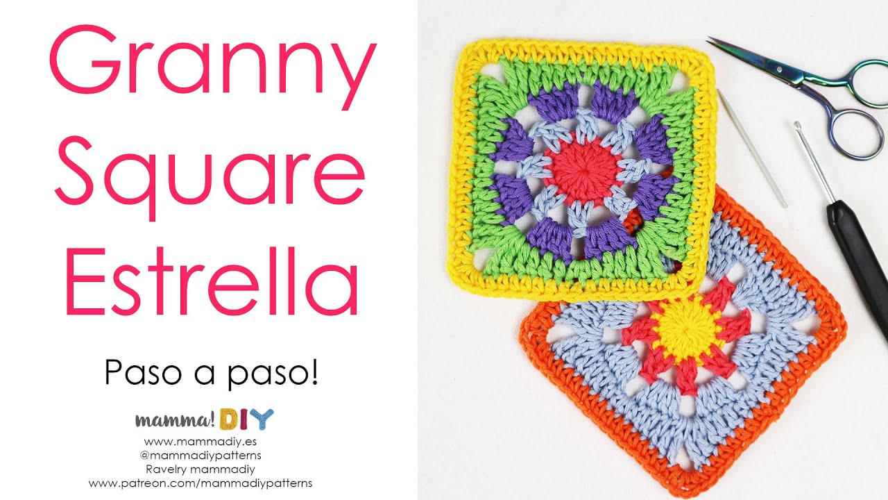 Granny Square Estrella Crochet por Cecilia Losada de Mamma Do It Yourself