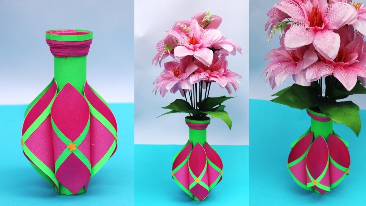 YouTube & Easy paper flower vase making at home || paper art \u0026 craft || best home decor idea