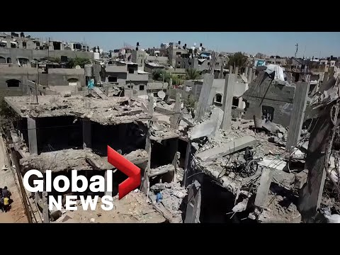 Drone footage shows extent of devastation in Gaza City following Israel-Hamas ceasefire