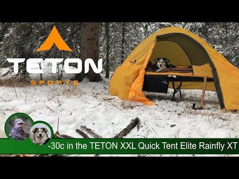 -30c Winter Camp in the TETON XXL Quick Tent Elite Rainfly XT