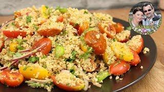 Легкий диетический салат. Кус кус , запеченные помидоры и соус. Полезно, быстро и вкусно.