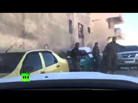 Момент обстрела автомобиля с журналистами в Сирии
