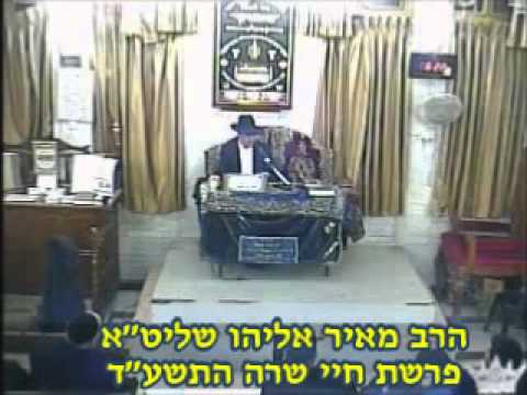 הרב מאיר אליהו שליט''א Chaye Sara פרשת חיי שרה התשע''ד