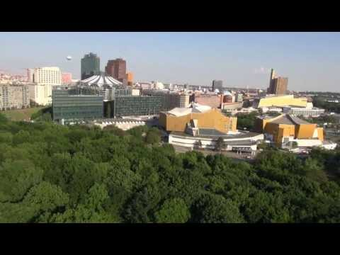 Flight over Tiergarten Berlin - Potsdamer Platz - raw video no post stabilisation.