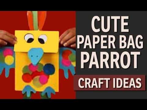 How to make a Paper Bag Parrot - Paper Bags Craft Ideas (English)