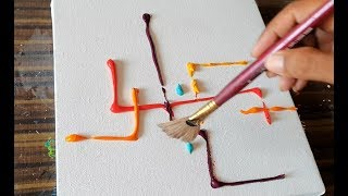 Satisfying Abstract Painting Demonstration / Strokes of Fan Brush / Easy /Daily Art Therapy/Day #027 thumbnail