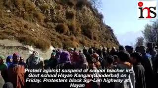 Protest against suspend of school teacher in Govt school Hayan Kangan(Ganderbal) on Friday.