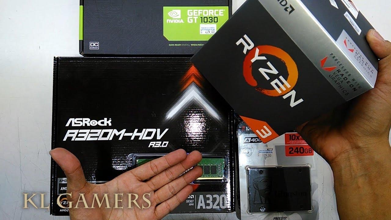 AMD Ryzen 3 2200G Asrock A320M-HDV R3 0 16GB RAM Kingston A400 nvidia  GT1030 Gaming PC 2019
