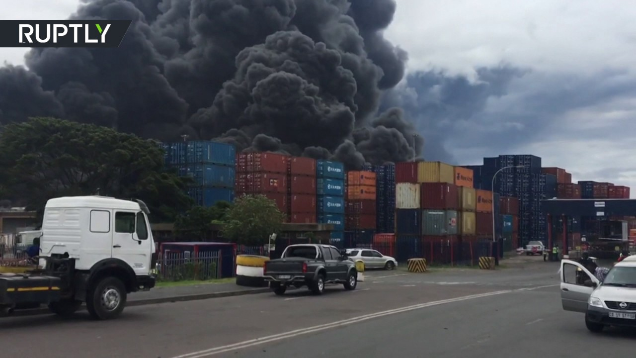 Massive blaze sends plumes of smoke into sky in Durban, South Africa