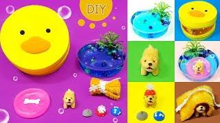 DIY Miniature animal set - Swimming Puppy set !! puppy , swimming pool - 미니어쳐 강아지 수영장 세트 만들기 !