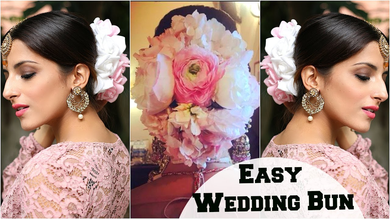 anushka sharma wedding bun hairstyle & bridal look: flower bun