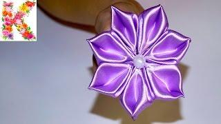 Канзаши мастер клас,для начинающих своими руками. DIY kanzashi tutorial flowers(Доброго времени суток, друзья! Меня зовут Лена, и в этом видео уроке, я покажу как легко и просто из атласных..., 2016-01-03T07:25:24.000Z)