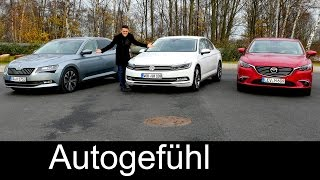 Skoda Superb vs VW Volkswagen Passat B8 vs Mazda6 Facelift COMPARISON review test new VERGLEICH neu