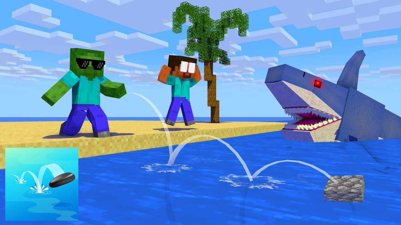 Monster School : Stone Skipping - Minecraft Animation