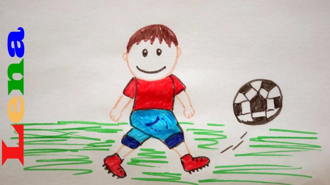 Jungen Mit Fussball Zeichnen Fur Kinder How To Draw A Boy Playing Football Risovat Futbolista