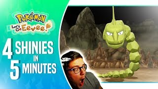 Pokemon Let's Go - 4 SHINIES in 5 MINUTES LIVE! (CRAZY SHINY LUCK!)