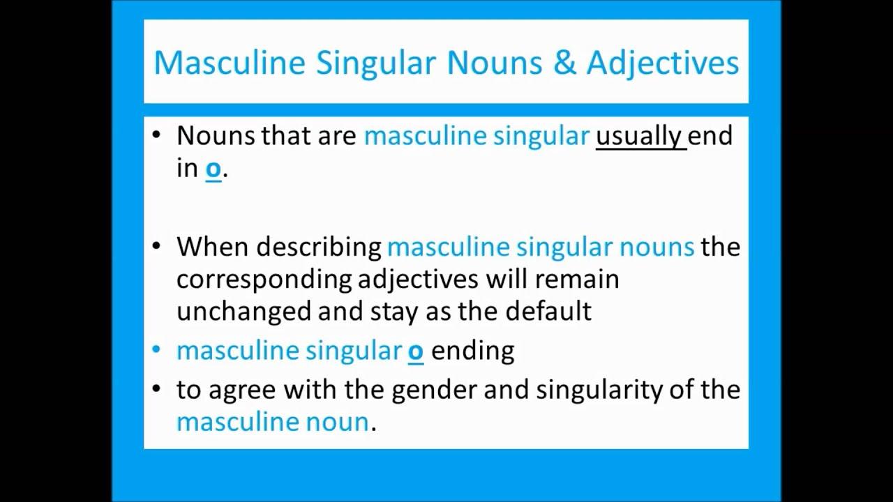 Spanish Grammar Definite Articles Nouns Adjectives Musicadded