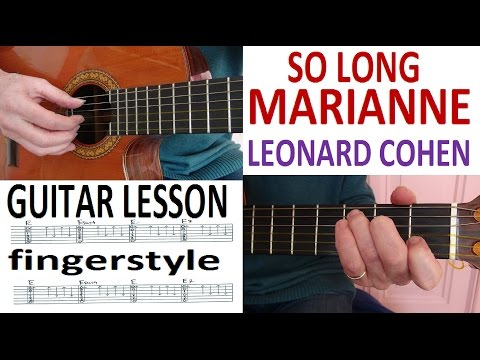 SO LONG MARIANNE - LEONARD COHEN - fingerstyle GUITAR LESSON