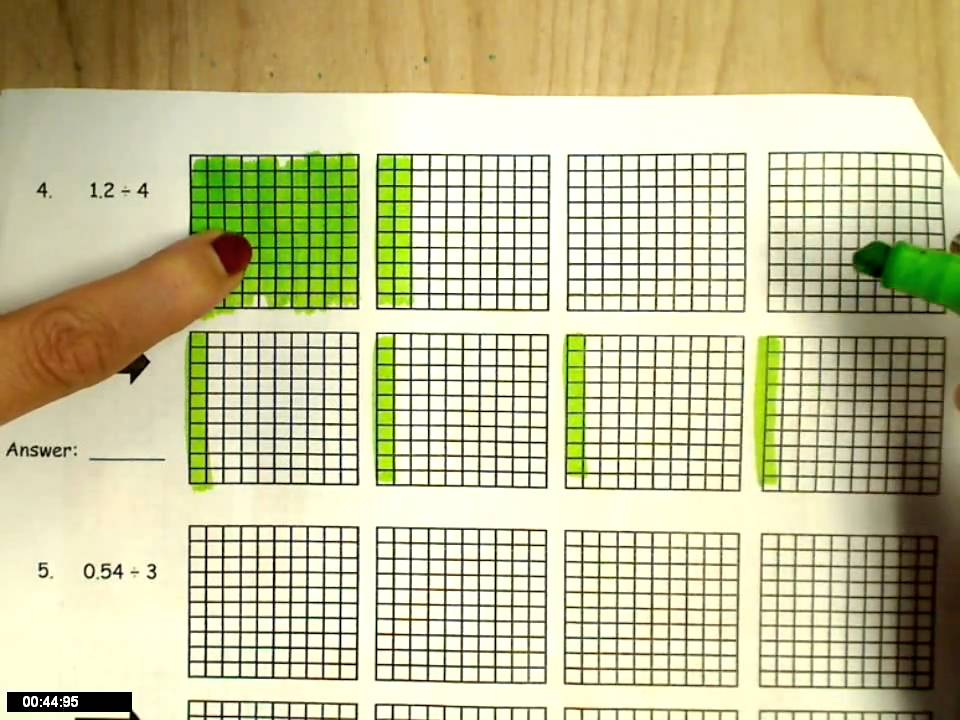 dividing decimals-modeling - YouTube