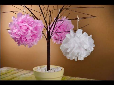 C mo hacer pompones de papel de china manualidades - Como hacer manualidades faciles ...