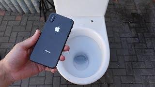 Experiment - Kann man ein IPHONE XS die Toilette runter spülen?