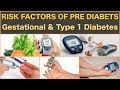 Risk Factors for PreDiabetes Gestational Diabetes Diabetes Type 1 Diabetes Type 2