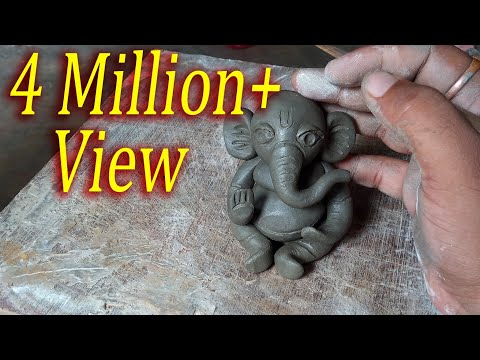 Easy Ganesha Making Process in Clay- Cuteee Ganapati Bappa make in 5 min