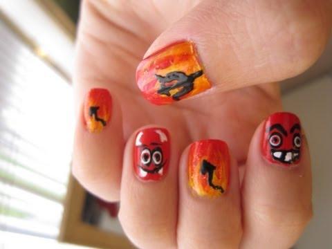 Devil Fire Nails - Halloween Nail Art