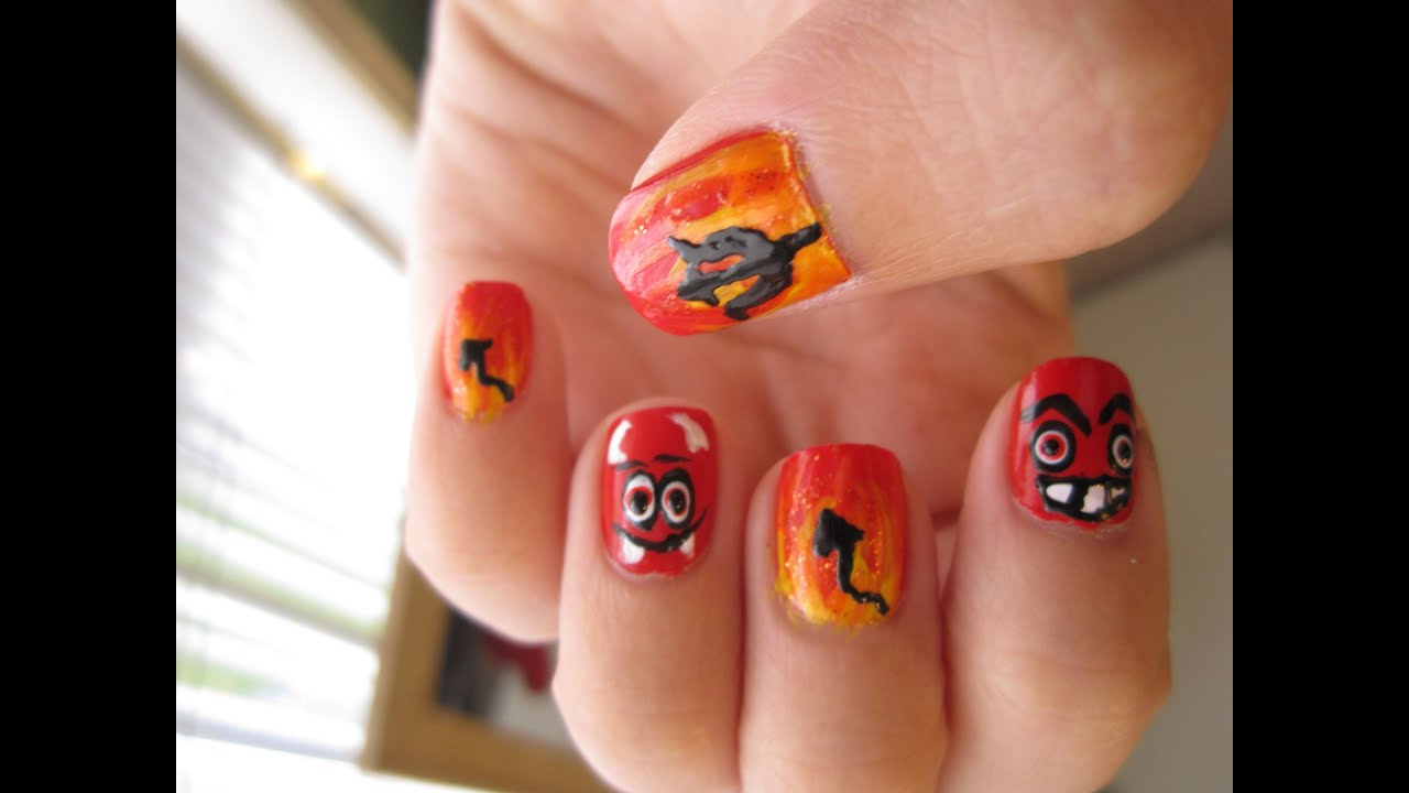 Devil Fire Nails - Halloween Nail Art - YouTube